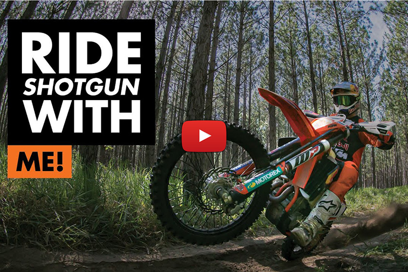 "Toby Price woods riding his KTM 500 EXC-F – ""Getting the mullet flappin' in the breeze..."""